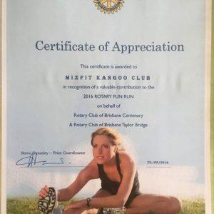 Certificate of Appreciation - MixFit Kangoo Club